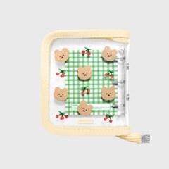 Dot cherry bear-ivory(3hole diary)