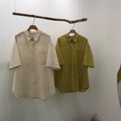 여름 남성 오버핏 포켓 빅사이즈 카라 박스 면 셔츠 남방
