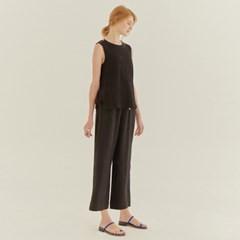 LINEN SIDE SLIT PANTS (BLACK)
