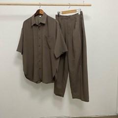 여름 상하세트 냉장고 오버핏 셔츠 남방 밴딩 와이드 팬츠