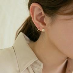 14k gold round button earrings (14K 골드)