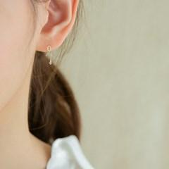 14k gold ribbon CZ drop earrings (14K 골드)