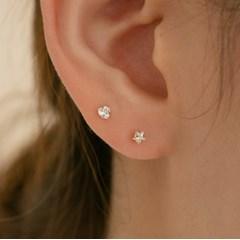 14k gold heart star CZ piercing (14k 골드)