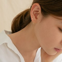 14k gf circle round earrings (14k 골드필드)