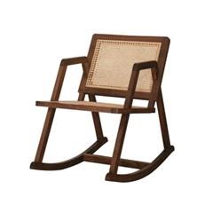 북미산 월넛 원목 천연 라탄 흔들 의자