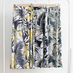 여름 해변 나뭇잎 하와이안 허리끈 밴딩 a라인 롱스커트
