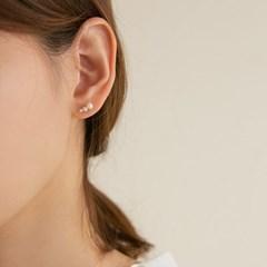 14k gold flat 3 layered pearl earrings (14K 골드)
