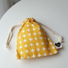vintage yellow dot string pouch