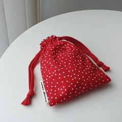 vintage small dot string pouch_레드