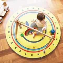 베딩베베 옐로우 스마일 원형 2단 120cm 알파벳 놀이 폴더매트