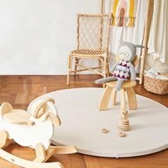 베딩베베 오트밀 베이지 원형 2단 140cm 유아 놀이 아이방 폴더매트