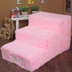 3단 스텝 침대 계단 핑크 강아지