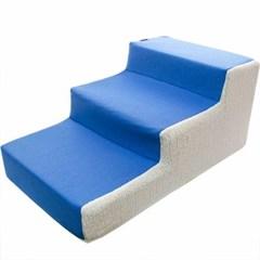 3단 스텝 침대 계단 블루 강아지