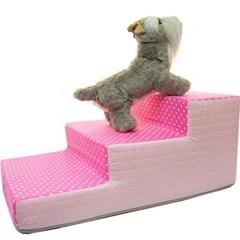 도트 3단 스텝 침대 계단 핑크 강아지