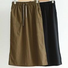 여름 루즈핏 텐셀 허리밴딩 포켓 주머니 A라인 롱스커트