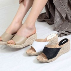 kami et muse Espadrille leather wedge heel slippers_KM280