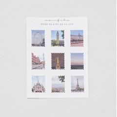 [메리필름] 런던 파리 감성 우표 스티커 5장 1set