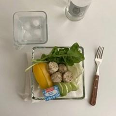 심플스퀘어 요거트& 샐러드보울 (2size, 유리그릇, 브런치용)
