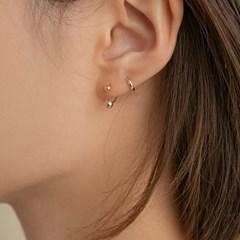 14k gold double ball line piercing (14k 골드)