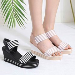 kami et muse Stripe elastic band wedge sandals_KM20s283