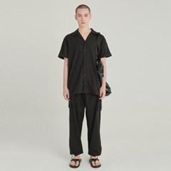 OPEN LINEN SHIRT+CARGO PANTS SET UP_BLACK