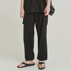 EASY LINEN CARGO JOGGER PANTS_BLACK