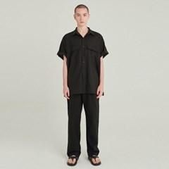 SAFARI LINEN SHIRT+PANTS SET UP_BLACK