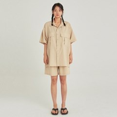 W SAFARI LINEN SHIRT+SHORT SET UP_LIGHT BEIGE