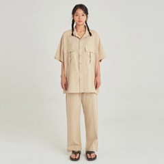 W SAFARI LINEN SHIRT+PANTS SET UP_LIGHT BEIGE
