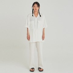 W SAFARI LINEN SHIRT+PANTS SET UP_IVORY
