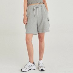 W CARGO WIDE SWEAT SHORT_GRAY