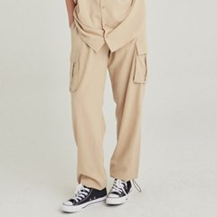 W EASY LINEN CARGO JOGGER PANTS_LIGHT BEIGE