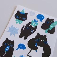 [ 씰스티커 ] 검정고양이 (밤고양이)