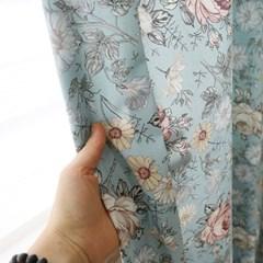 빈티지플라워 커튼(블루)(총140x230cm)