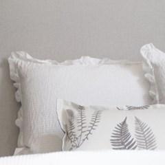 Artificial Silk Frill Summer Bedding_off white