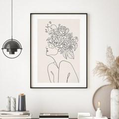 플라워우먼 드로잉 그림 액자 포스터