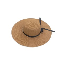 여성 리본 플로피햇 챙넓은 비치 모자 블랙 아이보리
