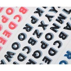 실버 포인트 알파벳 씰스티커 6종
