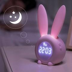 무드조명 토끼귀 수면등 알람탁상시계_(223462)