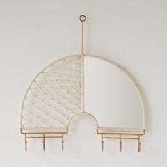 마크라메 벽거울 - 하프 레인보우