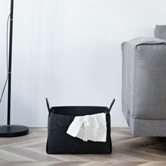 접이식 펠트 바구니(30x18cm) (블랙)/ 다용도정리함