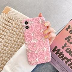 핑크로즈 아이폰 매트 풀커버 실리콘 카메라보호 케이스