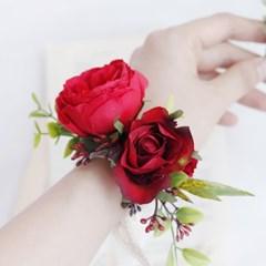Red Rose Mix 조화 꽃팔찌