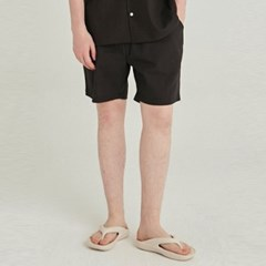 LINEN OVERSIZED SHORT_BLACK