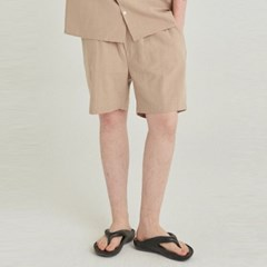 LINEN OVERSIZED SHORT_BEIGE