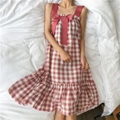 체크 핑크 리본 원피스 잠옷 파자마