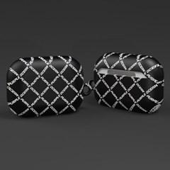 퍼플오션 블랙 로고 체크 패턴 에어팟 프로 케이스