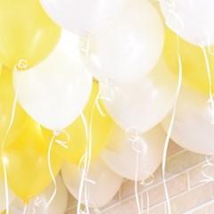 천장장식 펄풍선(헬륨효과)세트-옐로우&화이트