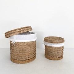raum(라움) 라탄바구니 원형 빨래 양말통