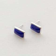 925 silver lapis stone square earrings (925실버)